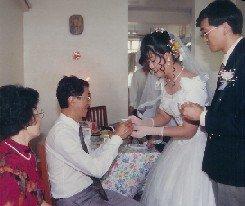 wedding tea ceremony in western gown