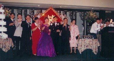Toasting at wedding banquet